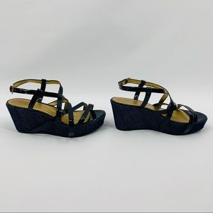 Kate Spade Black Patent & Blue Denim Wedge Heels